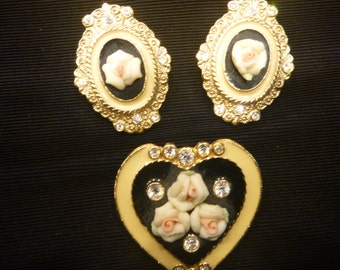 Vintage Rose on Black on Gold Victorian EARRINGS and BROOCH