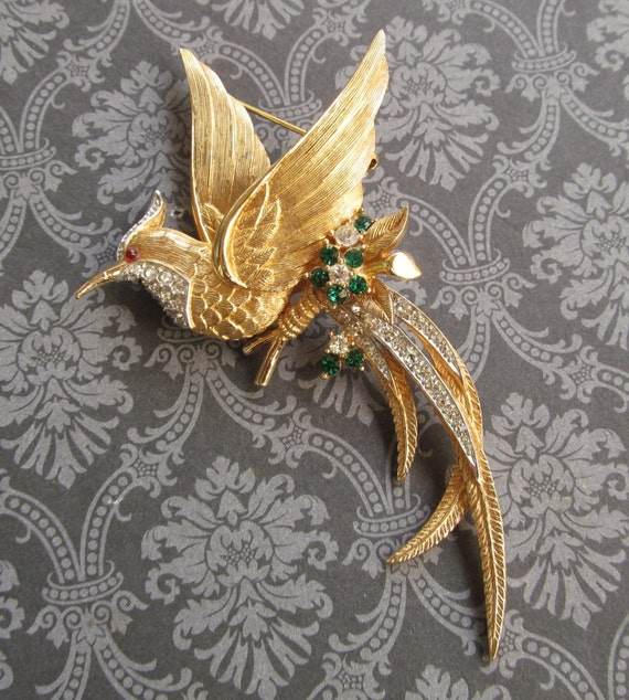 Boucher Black Flower Rose Pin Brooch Signed Numbered: Vintage Boucher Bird Of Paradise Brooch Pin Jewelry Gold Toned
