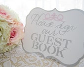 Silver White and Pale Pink - Flat or Freestanding Guest Book Sign - Choose Your Colors