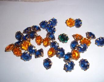 35 Vintage Plastic Rhinestone Buttons MetalGoldtone Settings Like Gemstones B125