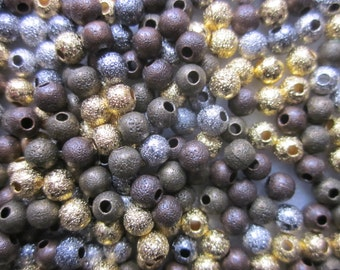 Multi Color Brass Stardust Beads 4mm 30 Beads