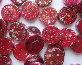 Burgundy and Black Flat Acrylic Beads 19mm Plastic Coin 20 Beads
