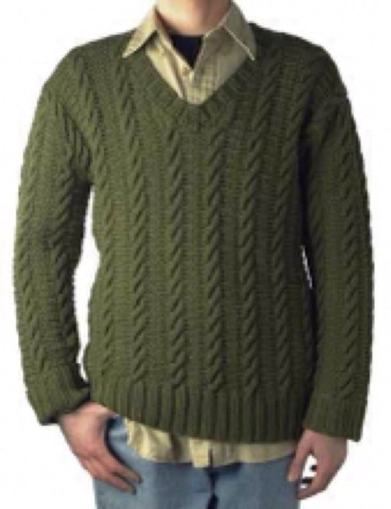 Mens knit sweater cable knit sweater v-neck sweater mens