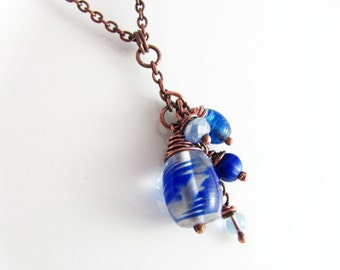 Wire Wrapped Jewelry Cobalt Blue Copper Jewelry Wire Wrapped Pendant Copper Necklace Wire Wrapped Necklace Cluster Necklace