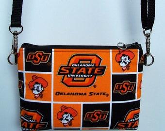 Oklahoma St NCAA Stadium Regulation Size Oklahoma State University Pistol Pete Sport Purse/Pouch/Bag/Wallet/Cross Body/Phone Holder