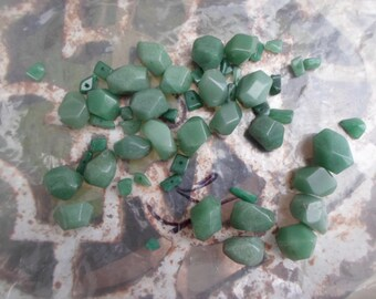 Vintage 1960s to 1970s Drilled Beads Jade Green Semi-Precious Stone Cut Polished Jewelry Making Supplies