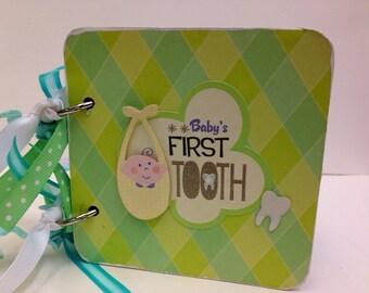 Baby's first tooth premade scrapbook chipboard coaster mini album-  baby boy scrapbook 4x4