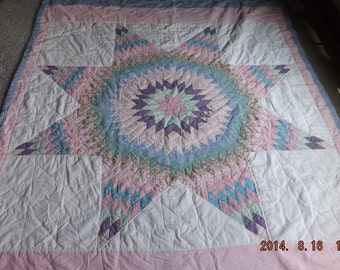 CLEARANCE SALE--Vintage Star Quilt, Hand Quilted, Blues, Pinks, Purples, Greens