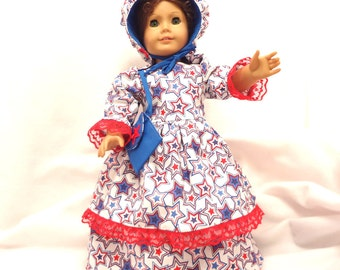 Red, white, and Blue stars on white, long dress for 18 inch dolls double skirted, with red lace trim.