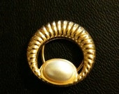 Brooch, gold, pearl, classic, vintage, scarf clip- Victorian Lady