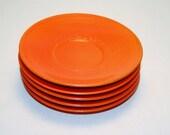 Gladding McBean Orange Red Teacup Saucers Set of 5 Retro Fiestaware Style