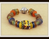 African Recycled Glass bracelet with Lampwork Focal.  Handcrafted Beaded Jewelry, Handcrafted.