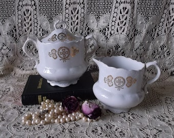 Shabby Cottage,Tattered and time worn, Vintage Sugar Dish and Creamer, white and gold