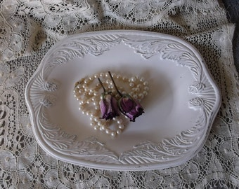 Vintage Metal embossed trinket tray, Heirloom white, shabby French country, Heavy dresser tray