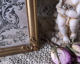 Mid century Vintage metal frame, art deco style, goldtone