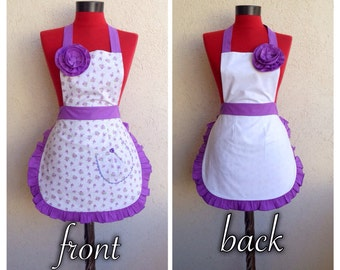 Retro apron 4 style in 1 apron sexy apron. Purple apron. Violet apron. Country apron.