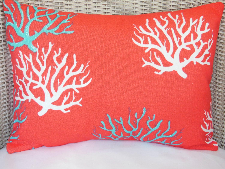 Red Coral Throw Pillows : Red/Coral Aqua OUTDOOR Nautical Throw Pillow Beach Decor