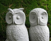 Owls, Cast Stone Garden Owl Statues, Two Concrete Owls, Pair of Cement Owls, Owl Garden Decor, Owl Figures For Outdoors