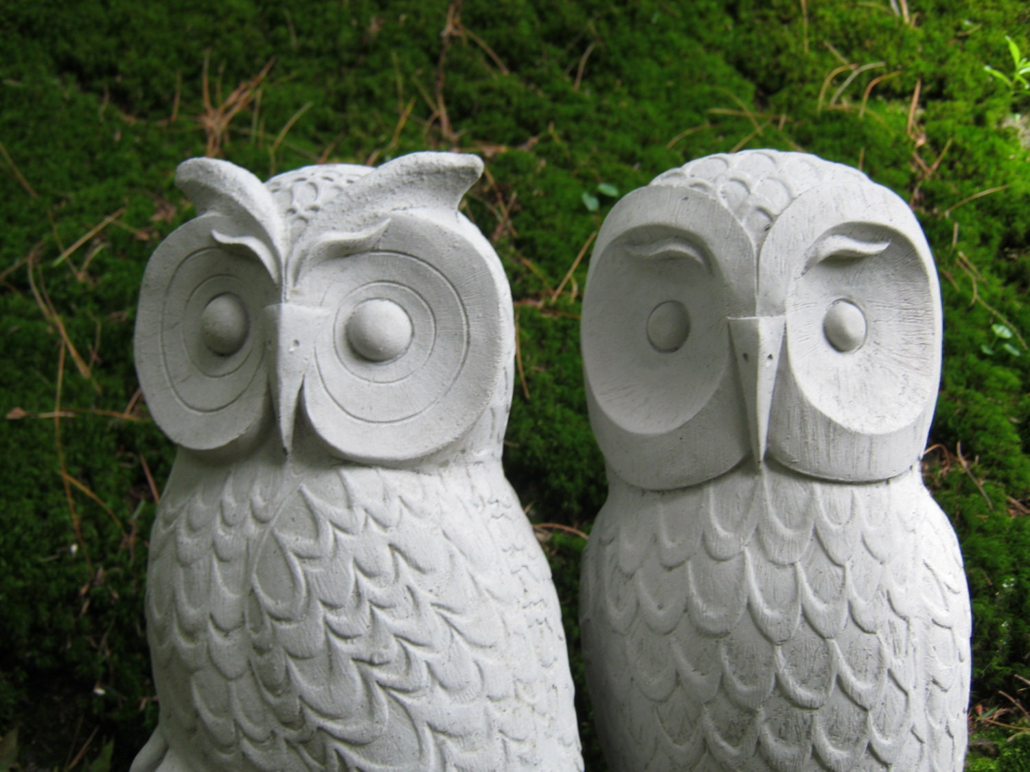 Owls Cast Stone Garden Owl Statues Two Concrete Owls Pair