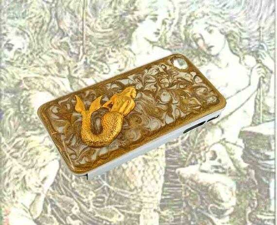 Mermaid Iphone Case Inlaid in Hand Painted Glossy Gold Swirls Enamel Nautical Fantasy Sea Siren Titanium Cover Custom Colors Available