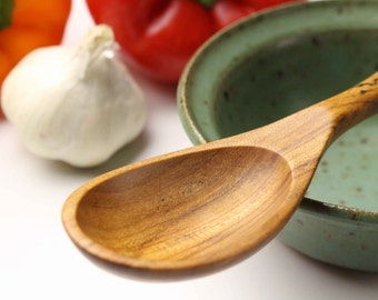 Small wooden spoon wood serving spoon kitchen utensil  for salsa and sauces of Maple wood