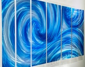METAL art blue painting sculpture 3D illusion effect ice ocean wave modern dance abstract shiny elegant wall decor Original handmade by Lubo