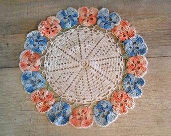 Vintage Doily Pansy Doilies Pink Blue