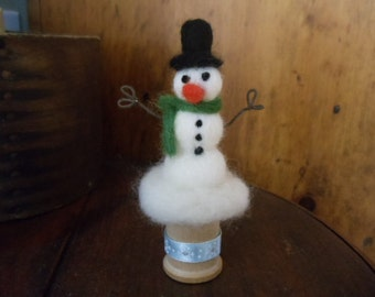 Mini White Wool Snowman Needle Felted Pincushion Wooden Spool
