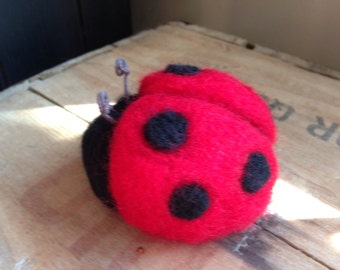 Needle Felted Red and Black Ladybug Pincushion Decoration