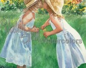 """Girl Friends, Sisters Blowing Bubbles, Straw Hats & White Dresses, Children Watercolor Painting Print, Wall Art, Home Decor, """"Sister Kisses"""""""