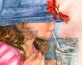 """Girl Drinking Soda Pop with Straw, Red Flower, Children, Watercolor Painting Print, Wall Art, Home Decor, """"Blue Hat Girl"""" by Judith Stein"""
