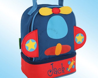 Lunchbox - Personalized and Embroidered - 2 Insulated Compartments - Lunch Pal - AIRPLANE