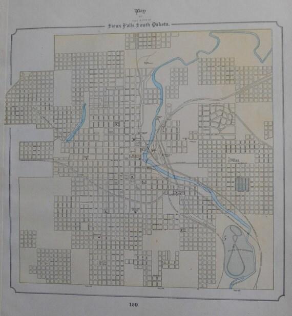 1896 sioux falls sd map 9 x 9 vintage original victorian for Big city motors sioux falls sd