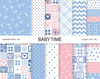 Baby Digital paper pack in blue and pink, Blue digital paper, Baby Boy, Baby girl, Baby papers, INSTANT DOWNLOAD Pack 628
