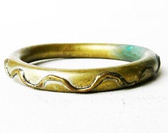 Antique Brass Chevron Bangle Bracelet