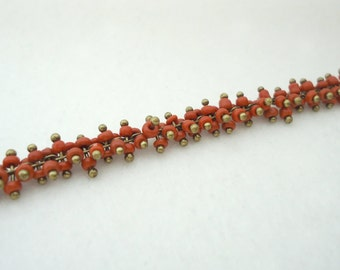 D-29. 20cm, 317, Red Glass Bead, Antique Chain