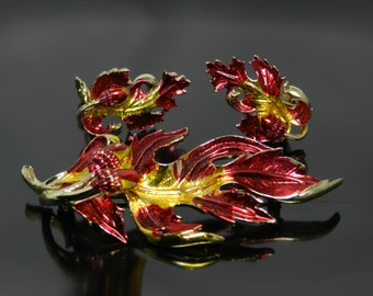 Vintage Colorful Red And Gold Oak Leaf And Acorn Brooch With Clip Earrings Demi Set