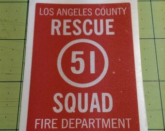 "Squad 51 Sticker ""Emergency"" TV show.  Reflective sticker.  Rescue Squad"
