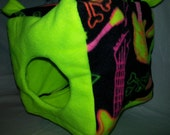 "8"" Cube Neon Guitars/Skulls on Neon Yellow Fleece for Ferrets or Rats"