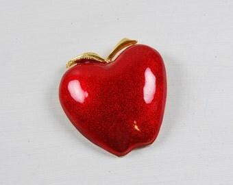 Vintage Red Enamel Apple Brooch