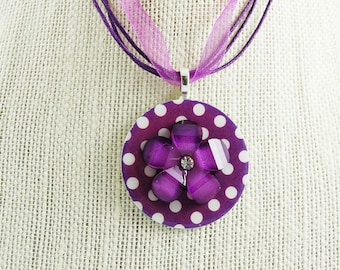 Handmade Upcycled Washer Necklace Purple Polka Dot with Purple Lucite Flower