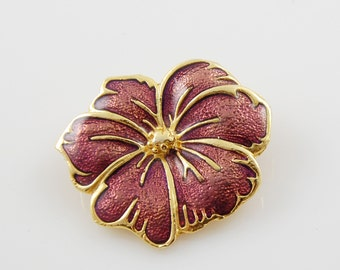 Vintage Purple and Gold Flower Brooch