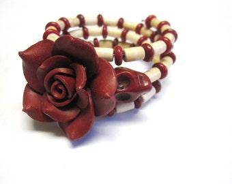 Day Of The Dead Bracelet Sugar Skull Wrap Rose Red White Ivory