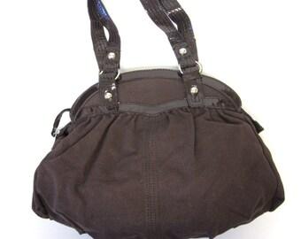 Chocolate Brown Purse Handbag Large Gathered Carpet Bag Hobo Sack