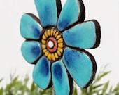 Flower garden art - plant stake - garden marker - garden decor - flower ornament - ceramic flower - buttercup - turquoise