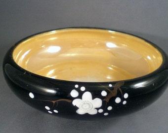 Vintage Mid Century Japanese Flower Planter Vase Bowl Luster Ware Asian Home Garden Decor