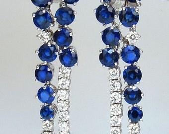 15.65CT Natural Sapphire Diamonds Earrings 18K Chandelier Cluster Dangle