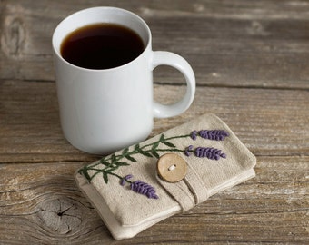 Lavender Tea Bag Wallet, Linen and Cotton Tea Holder with Hand Embroidered Lavender Flowers, Gift for Tea Lovers, French Country