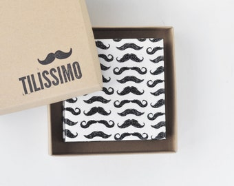 Mustache Coasters Ceramic Tile Drink Coasters Gift for Men Black and White, set of 4