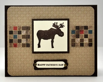 Father's Day Moose Greeting Card, Nature, Plaid, Brown, Ivory, Vanilla, Squares, Stamped, For Him, Masculine, Male, Dad, Father, Grandpa